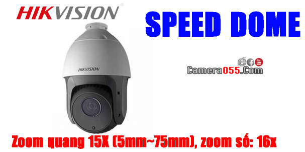 Camera HDTVI HD, HIKVISION DS-2AE4215TI-D, độ phân giải 2Mp, SPEED DOME - PTZ (Pan/Tilt/Zoom), Zoom quang 15X (5mm~75mm), zoom số: 16x