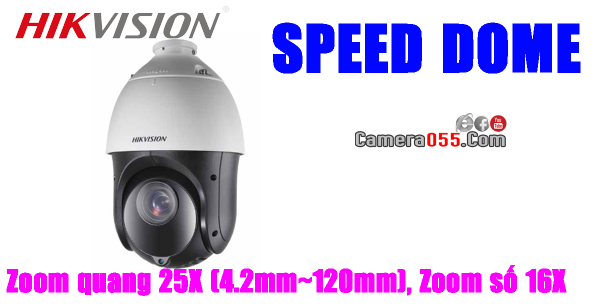 Camera HDTVI HD, HIKVISION DS-2AE4225TI-D, độ phân giải 2Mp, SPEED DOME - PTZ (Pan/Tilt/Zoom), Zoom quang 25X (4.2mm~120mm), Zoom số 16X