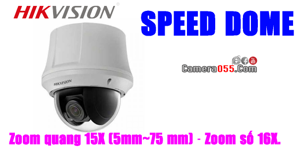 Camera HDTVI HD, HIKVISION DS-2AE4215T-D3, độ phân giải 2Mp, SPEED DOME - PTZ (Pan/Tilt/Zoom), Zoom quang 15X (5mm~75 mm) – Zoom số 16X
