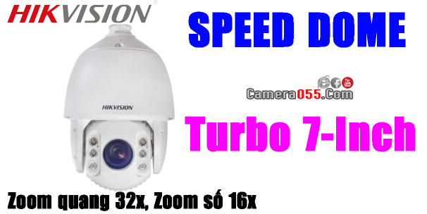 Camera HDTVI HD, HIKVISION DS-2AE5225TI-A Turbo 7-Inch, độ phân giải 2Mp, SPEED DOME - PTZ (Pan/Tilt/Zoom),  Zoom quang 32x , Zoom số 16x